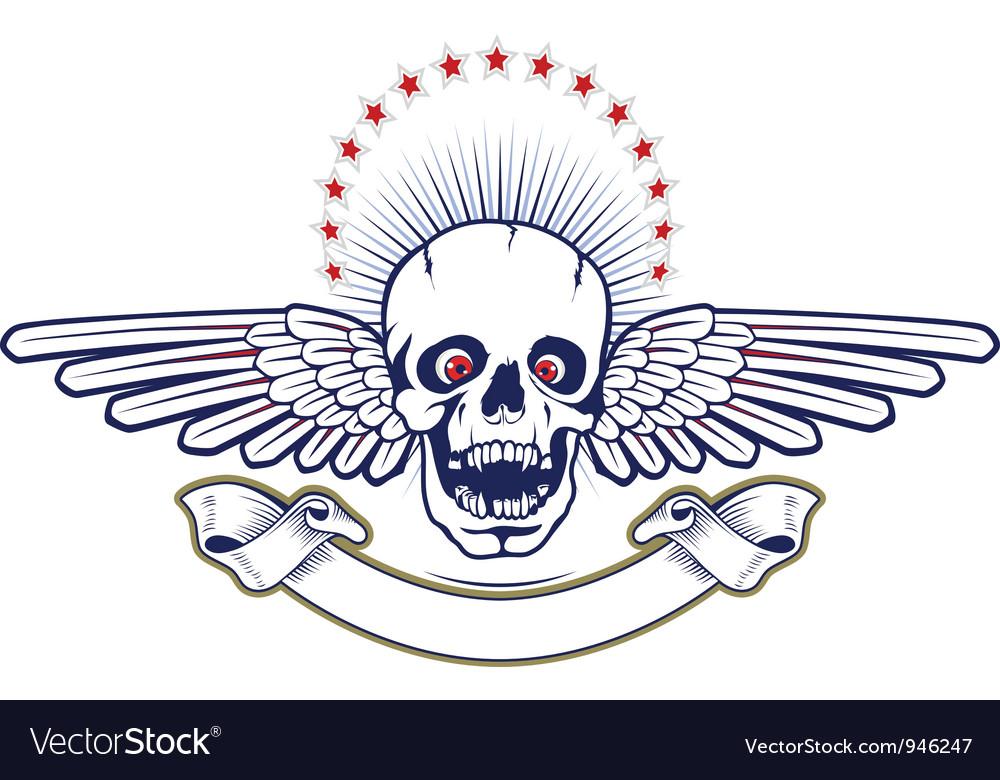 Skull wings vector image
