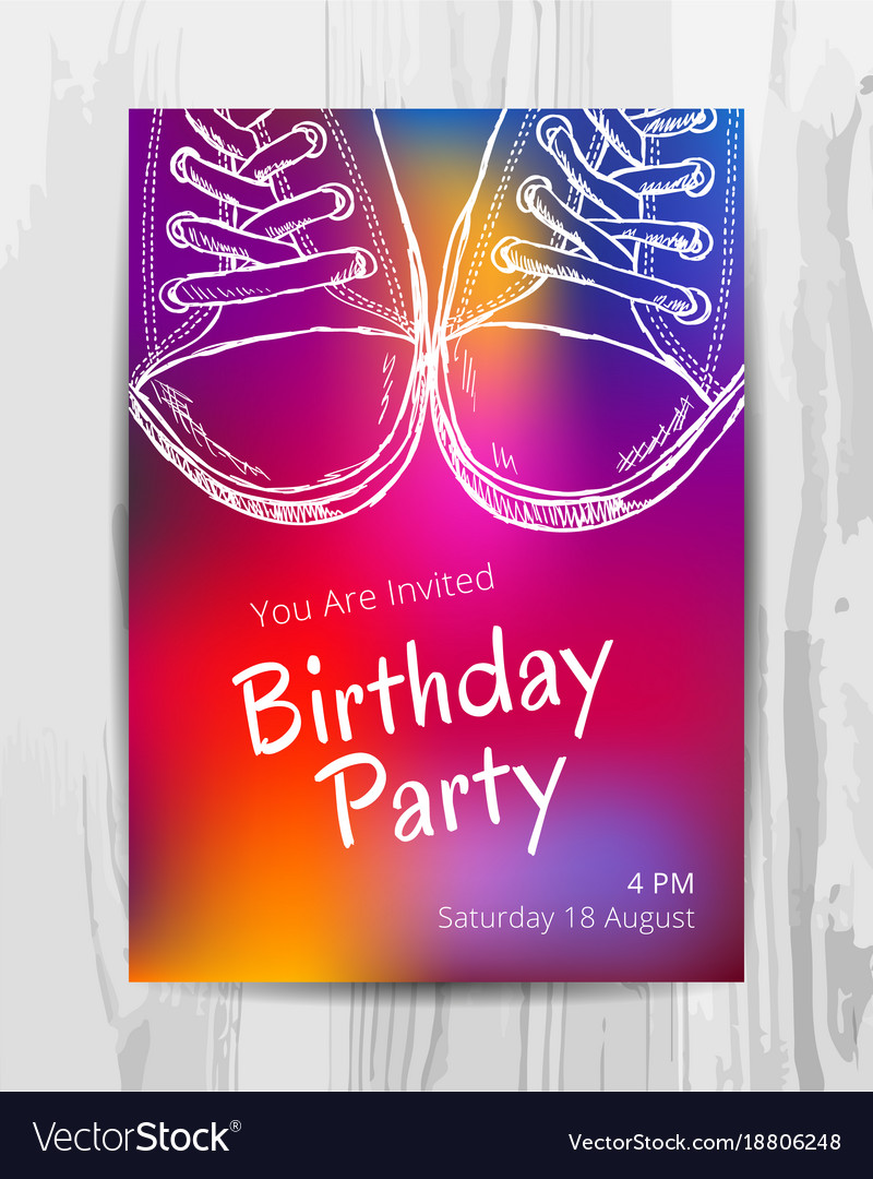 Birthday party invitation card teenage party vector image bookmarktalkfo Gallery