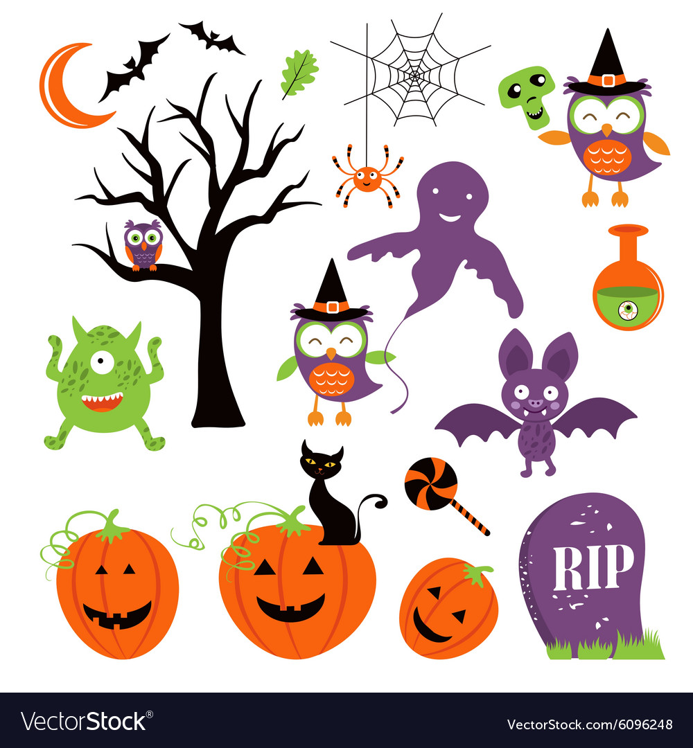 Cute colorful halloween elements collection vector image