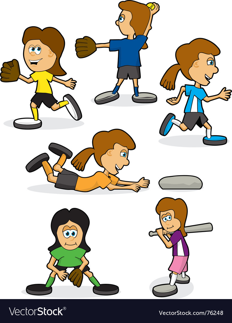 Girls softball vector image