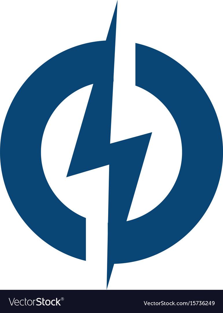Circle Lightning Bolt Logo Design Vector Image