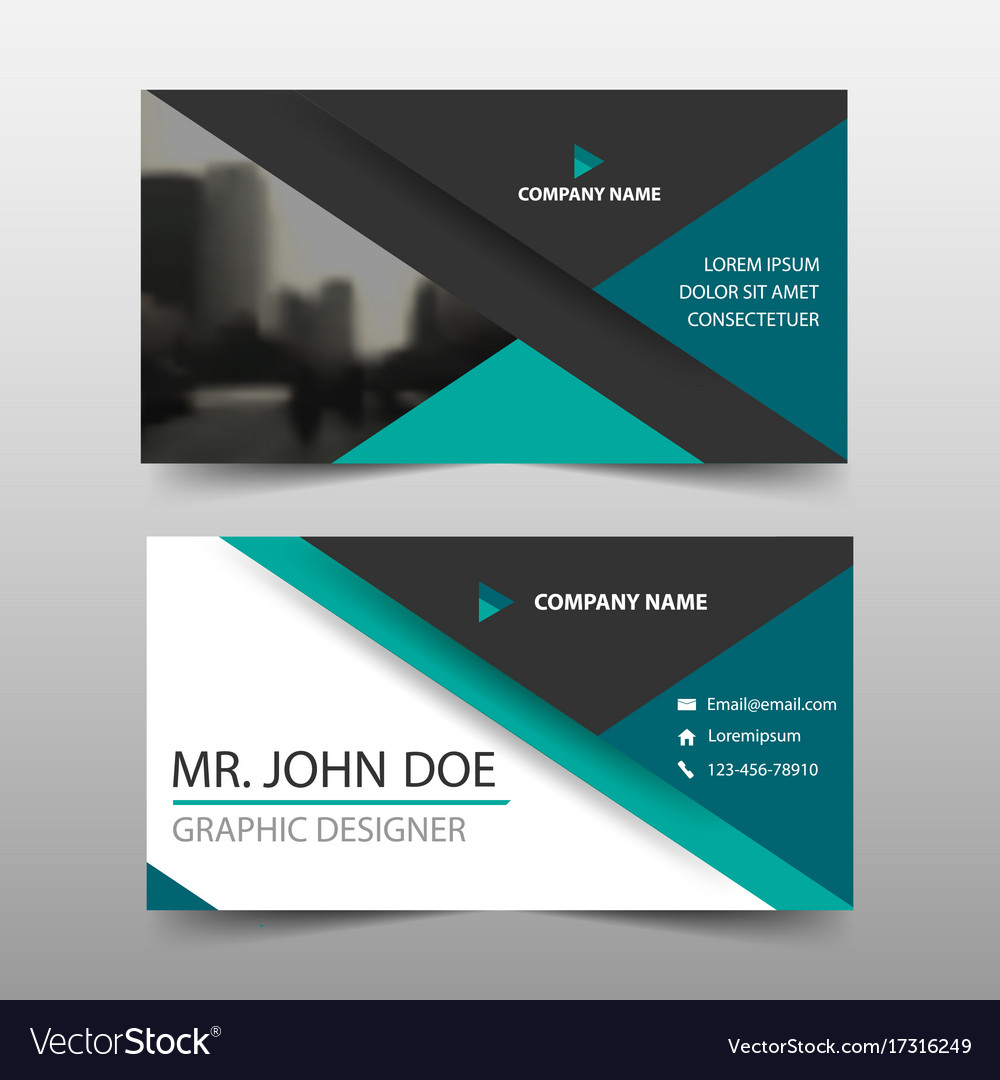 Beautiful Green Triangle Corporate Business Card Name Card Vector Image