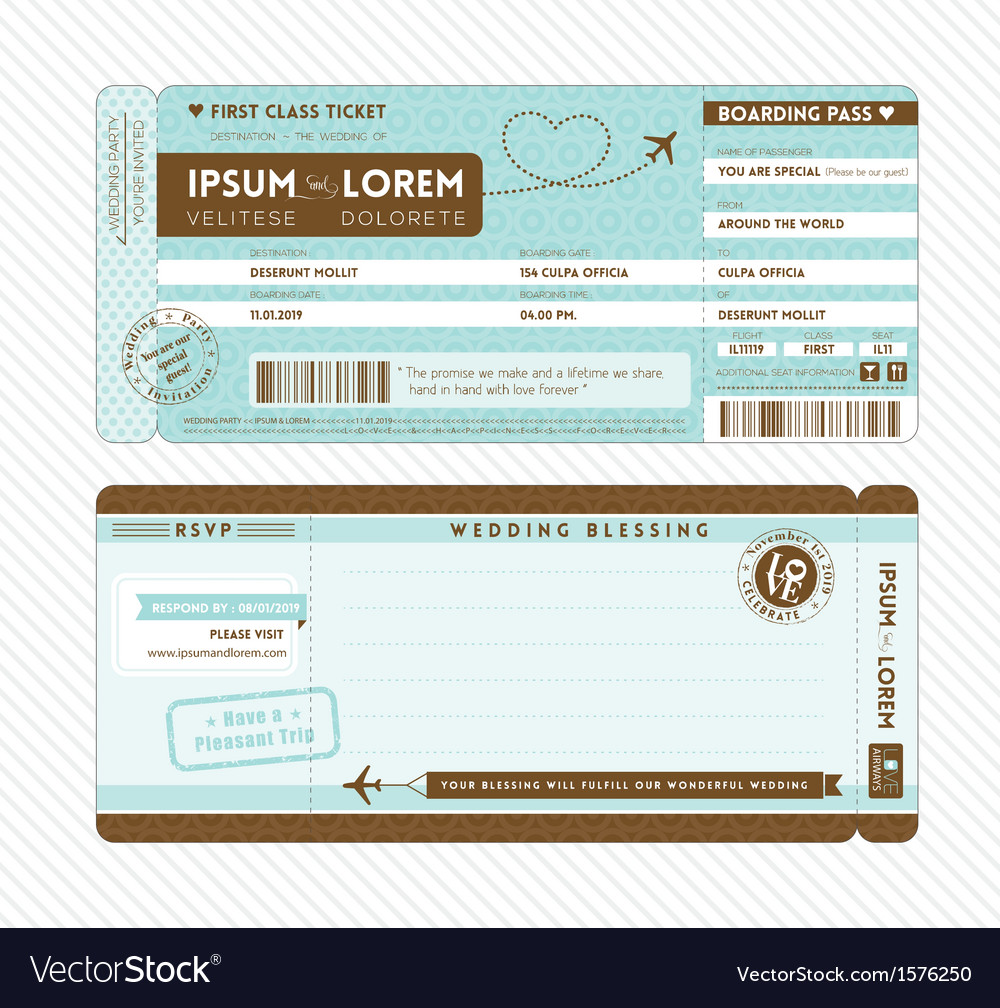 Boarding Pass Wedding Invitation Template Vector Image - Boarding pass wedding invitation template
