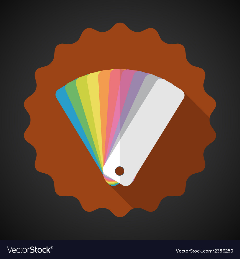 Design Color Guide Fan Flat Icon with long shadow vector image