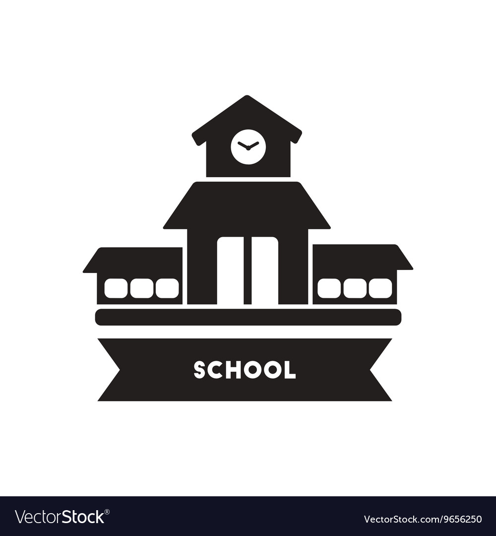 Flat icon in black and white style school