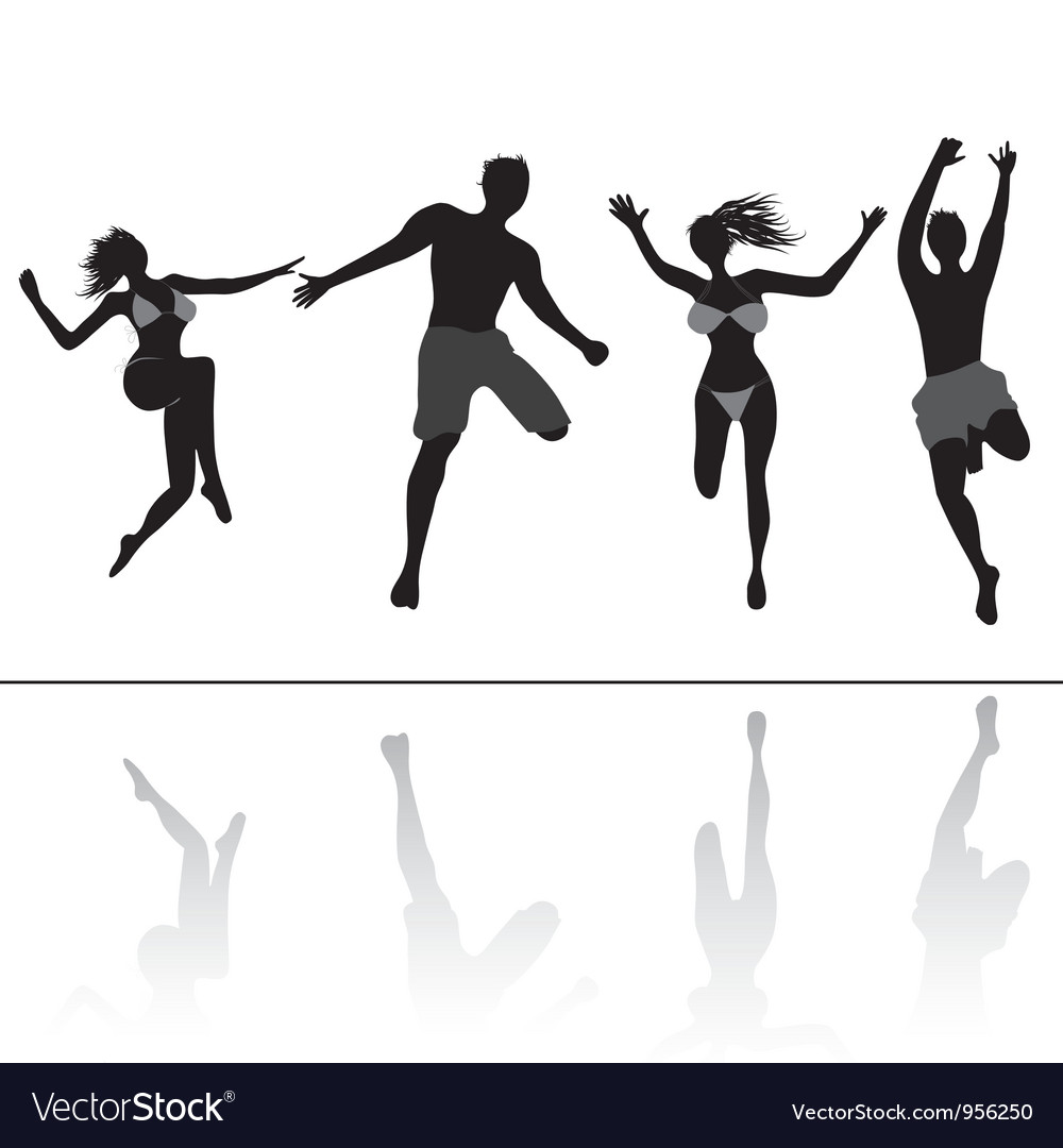 Jumping people friends vector image