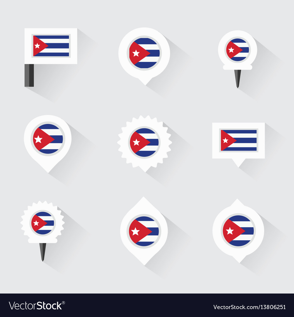 Cuba flag and pins for infographic and map design vector image