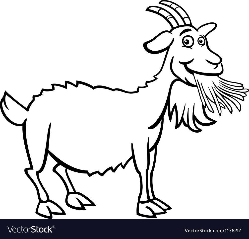 Coloring pictures goat - Farm Goat Cartoon For Coloring Book Vector Image