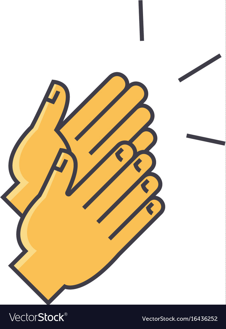 Applause clapping hands concept line icon vector image