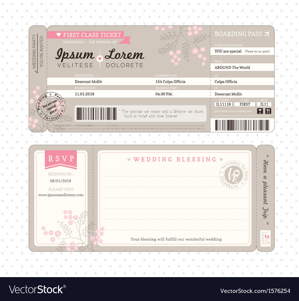 boarding pass wedding invitation template vector image. Black Bedroom Furniture Sets. Home Design Ideas