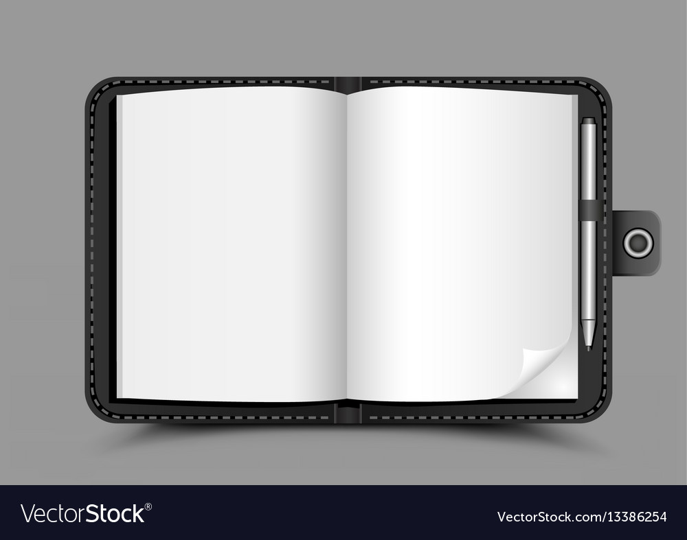 Open notepad gray background vector image
