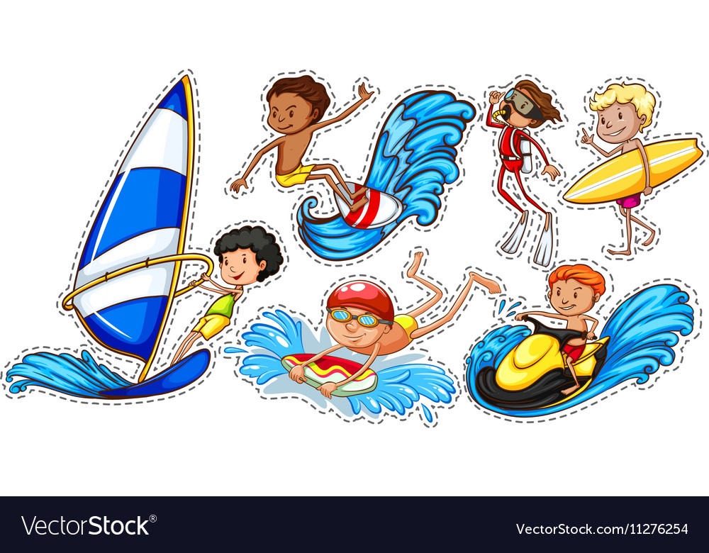 Sticker set of people doing water sports vector image