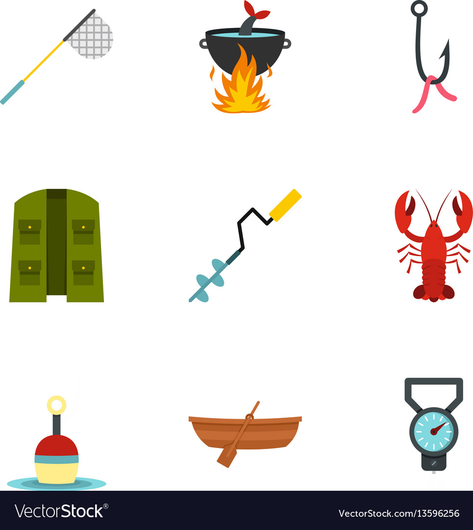 Fisher icons set flat style vector image