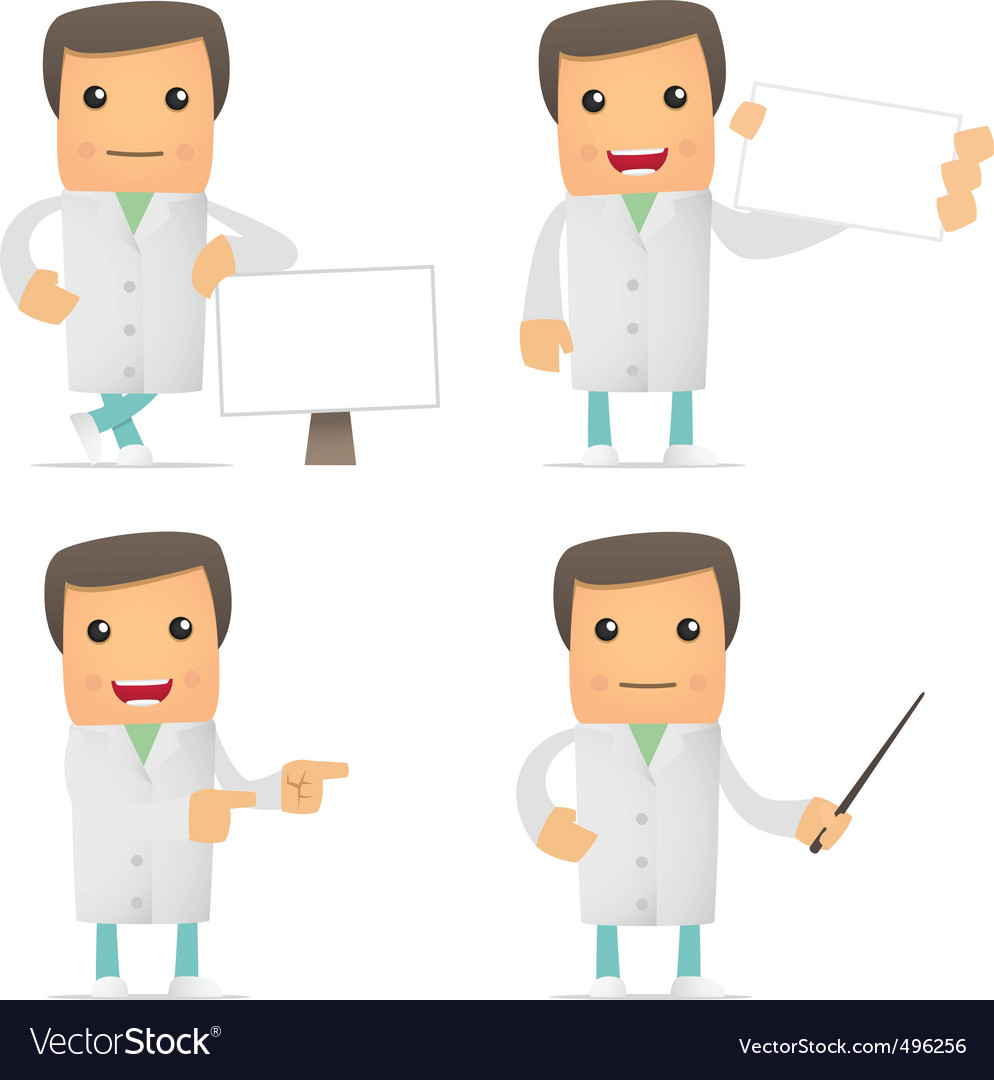 Set of funny cartoon doctor vector image