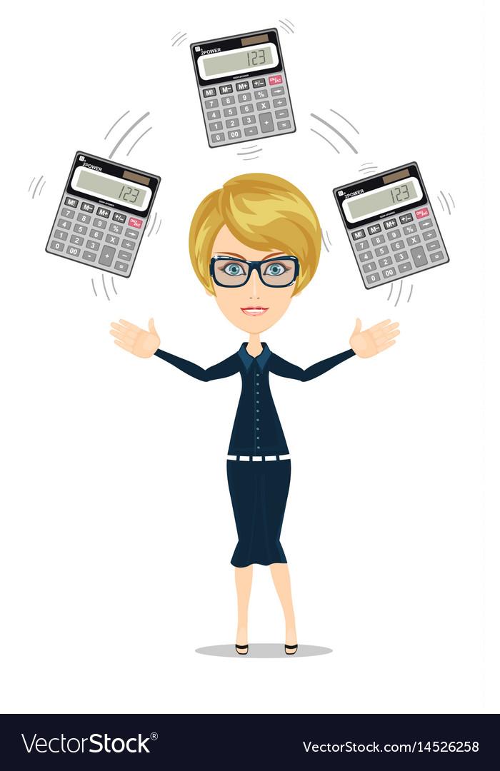 Accountant juggling a calculators in his hands vector image