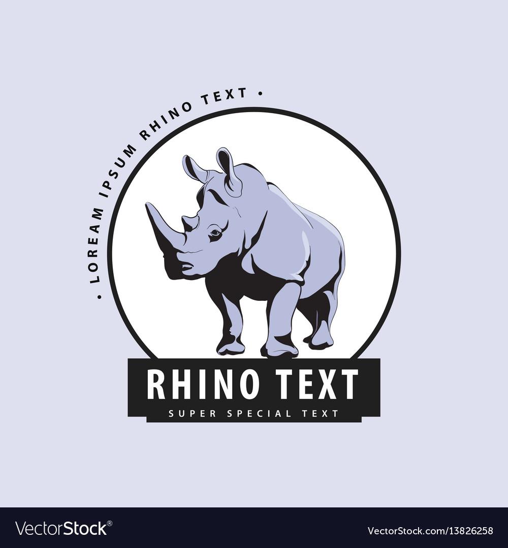 Designer logo with rhinoceros on a blue background vector image