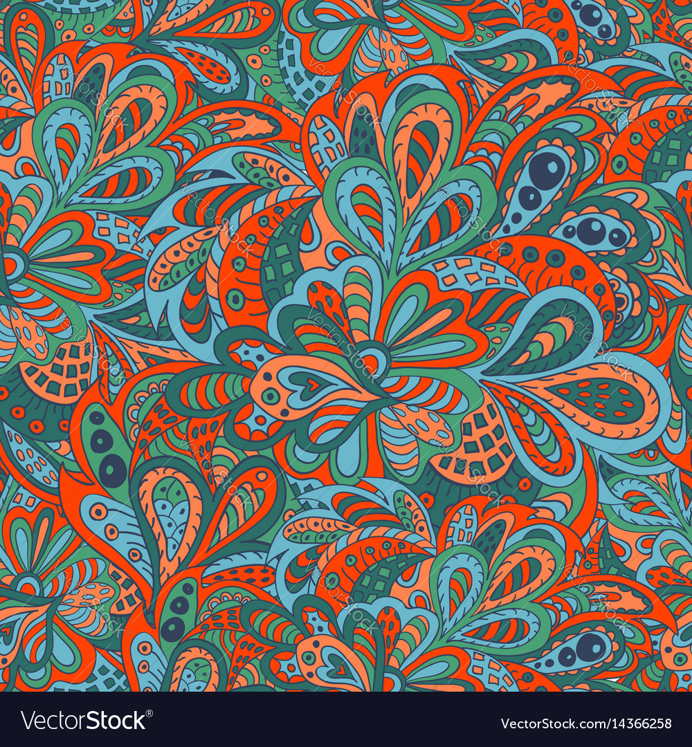 Seamless ethnic pattern red and marine colors vector image