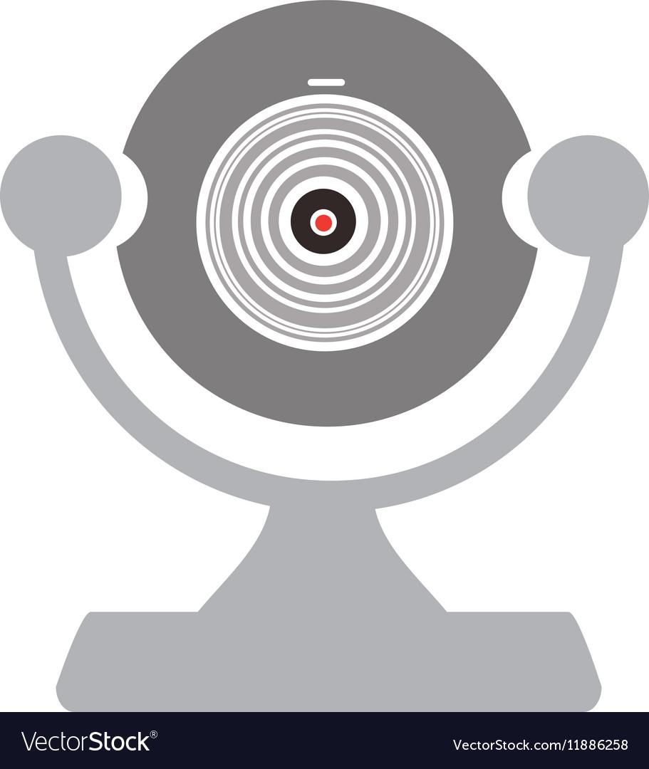 Silhouette computer video camera icon vector image