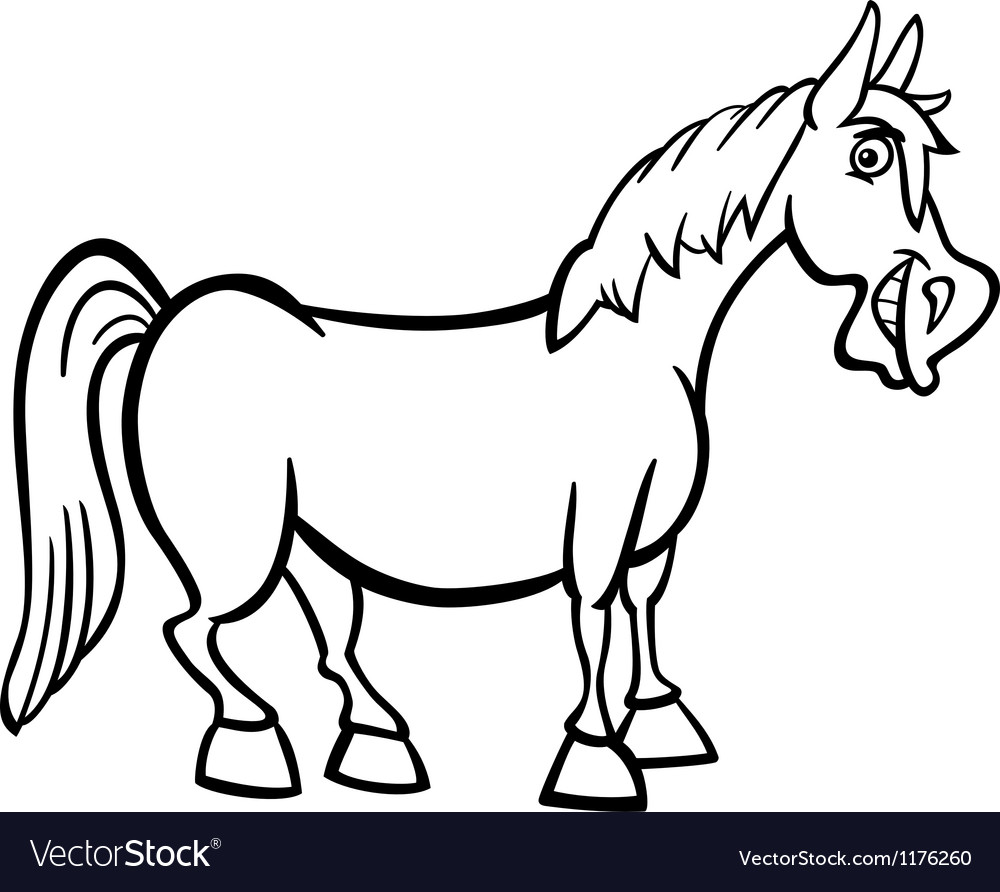 Farm animal horse coloring pages - Farm Horse Cartoon For Coloring Book Vector Image