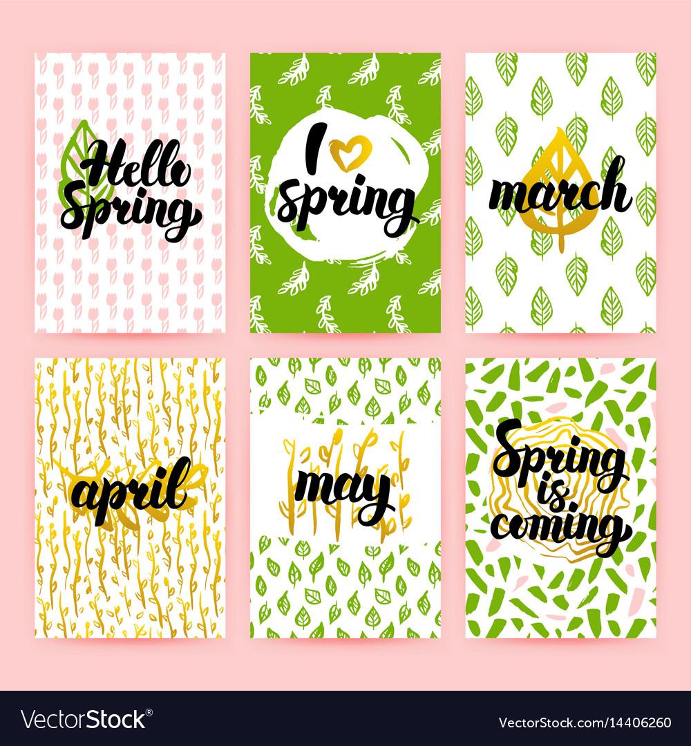 Spring greetings trendy brochures vector image