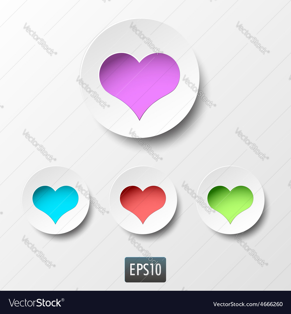 White paper heart icons with inside light on white vector image