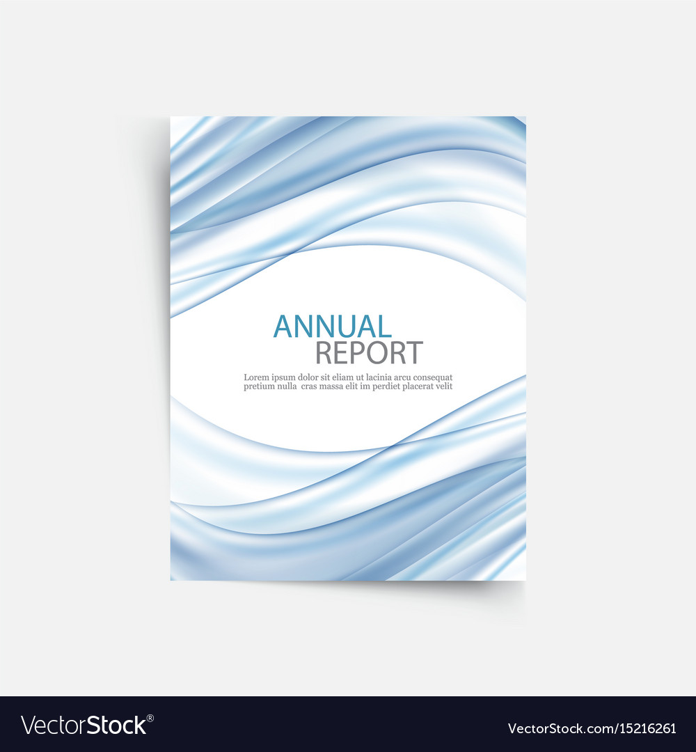 Blue wave annual report cover template brochure vector image