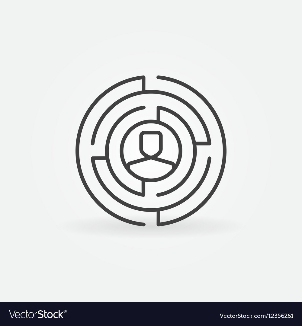 Round labyrinth outline icon vector image