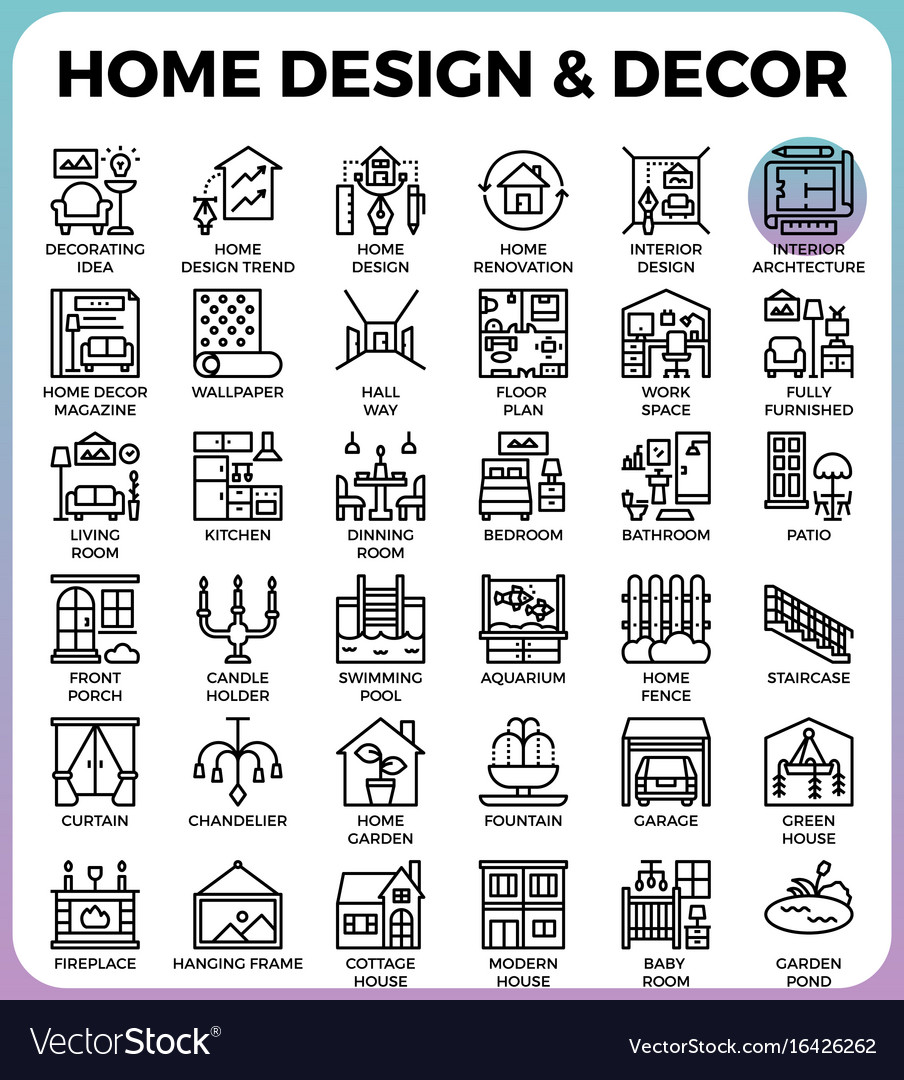 Home Design And Decor Icons Royalty Free Vector Image
