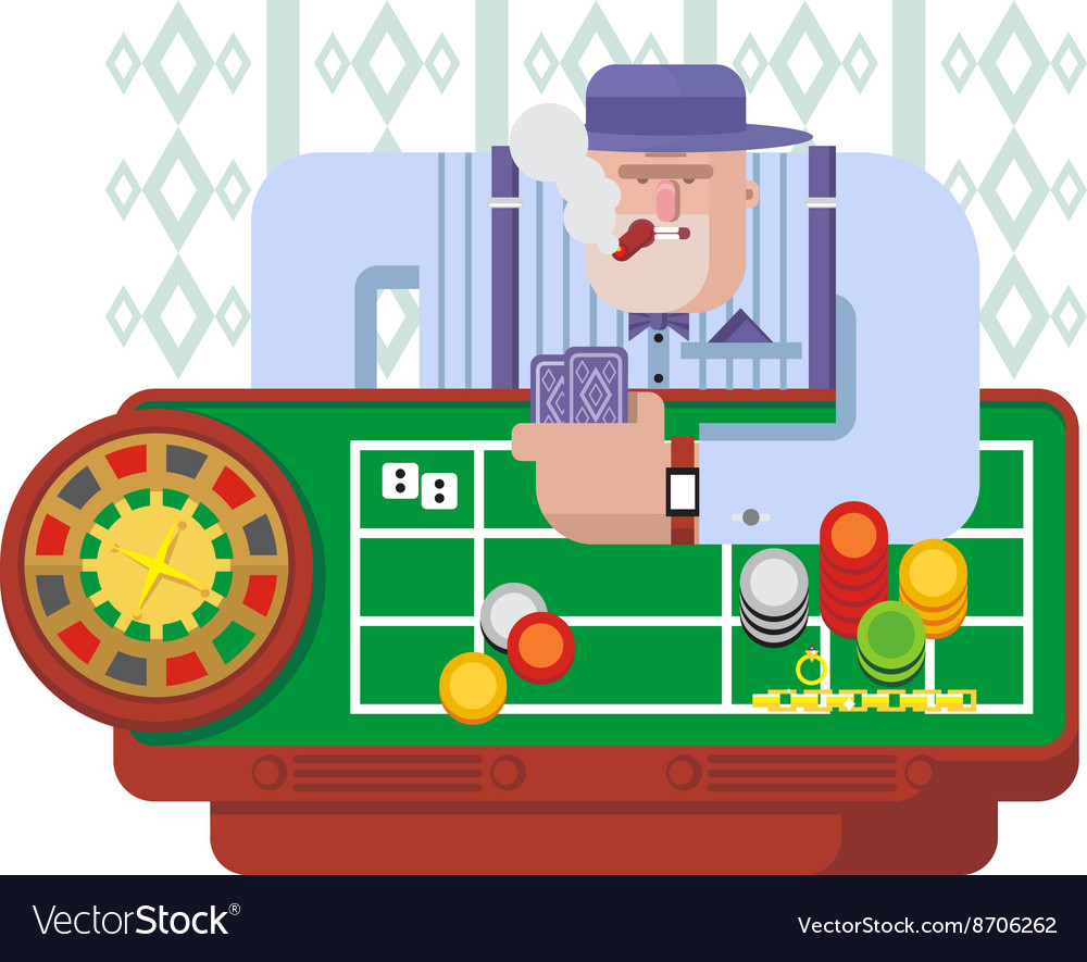Gambler playing roulette vector image