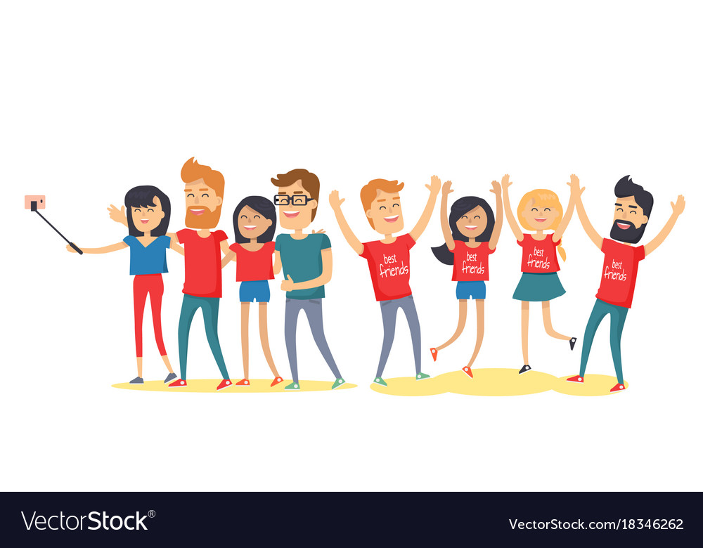 happy best friends have fun together flat vector image