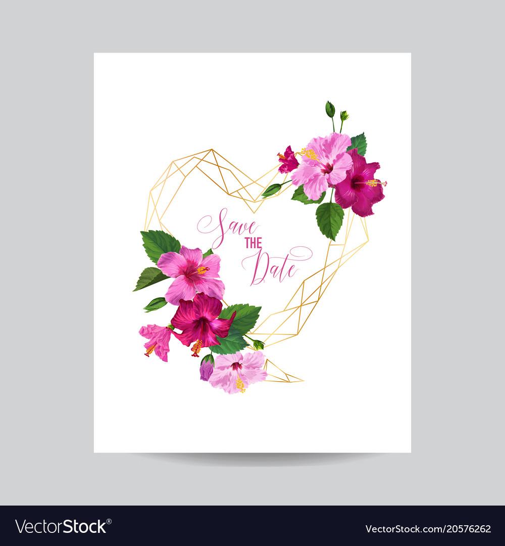 Wedding invitation template with hibiscus flowers vector image izmirmasajfo