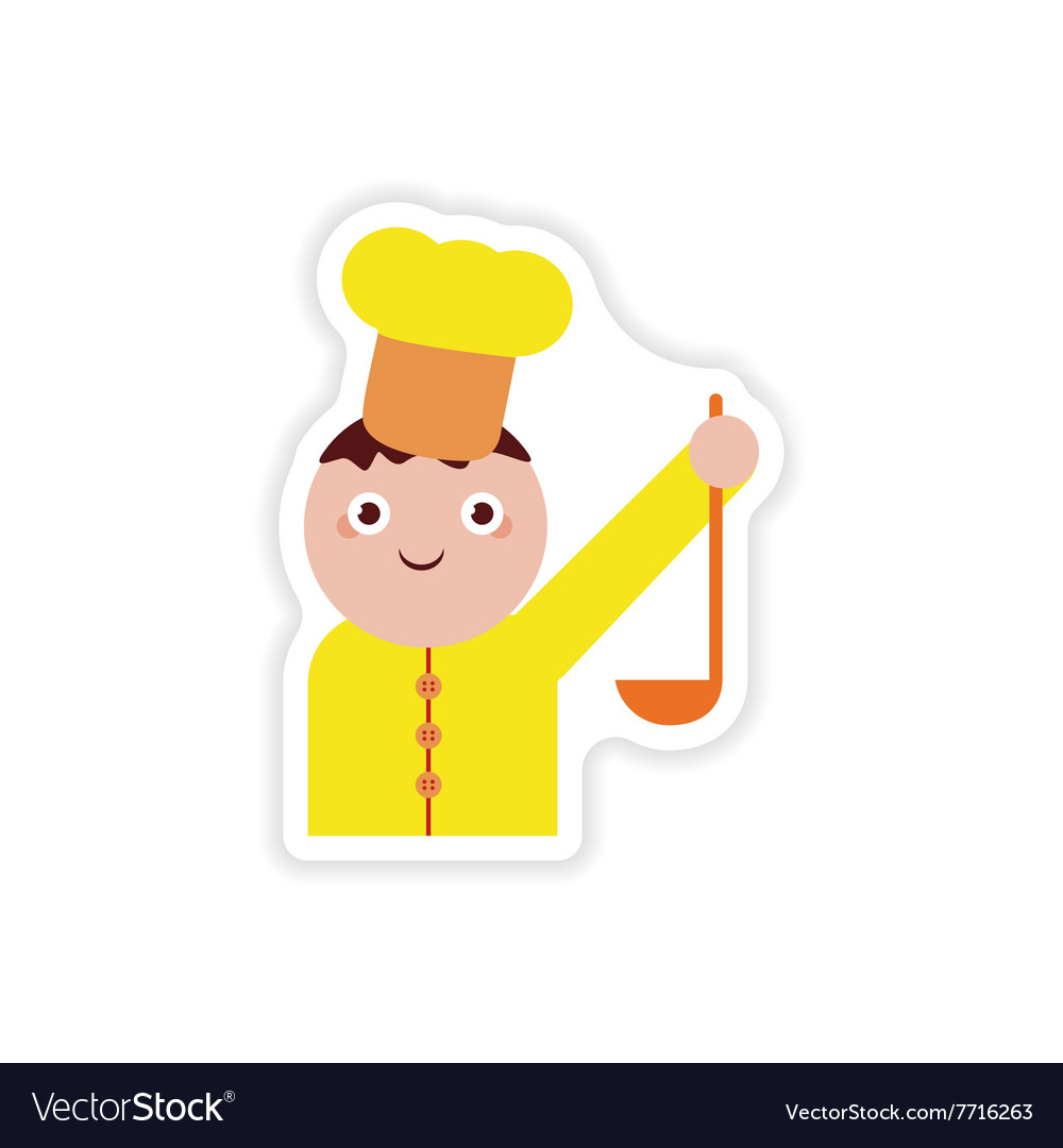 Stylish paper sticker on white background cook