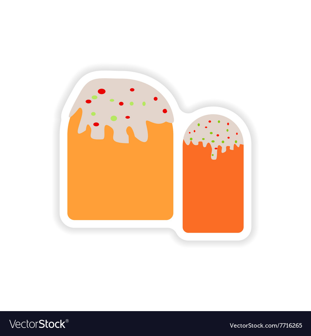 Stylish paper sticker on white background Easter