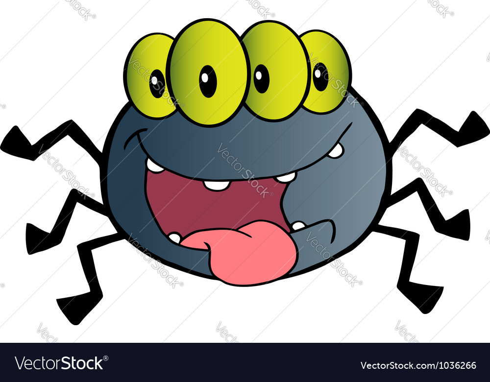 Four Eyed Creepy Spider Vector Image