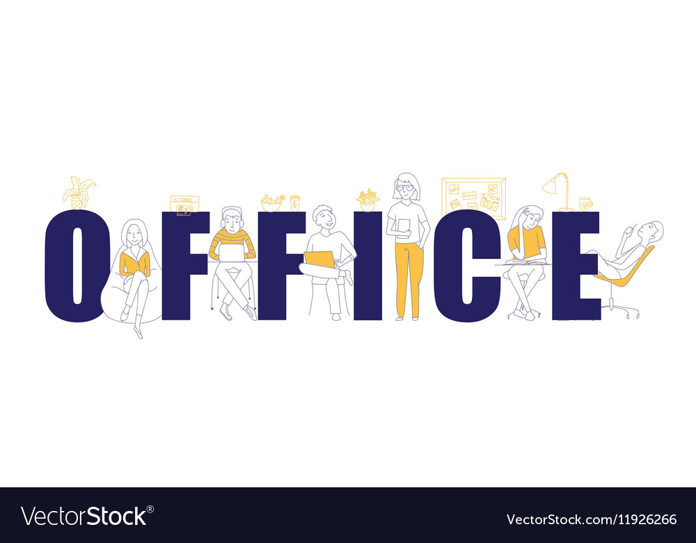 Office text concept vector image