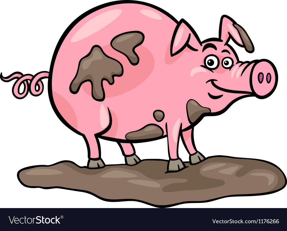 Pig farm animal cartoon vector image