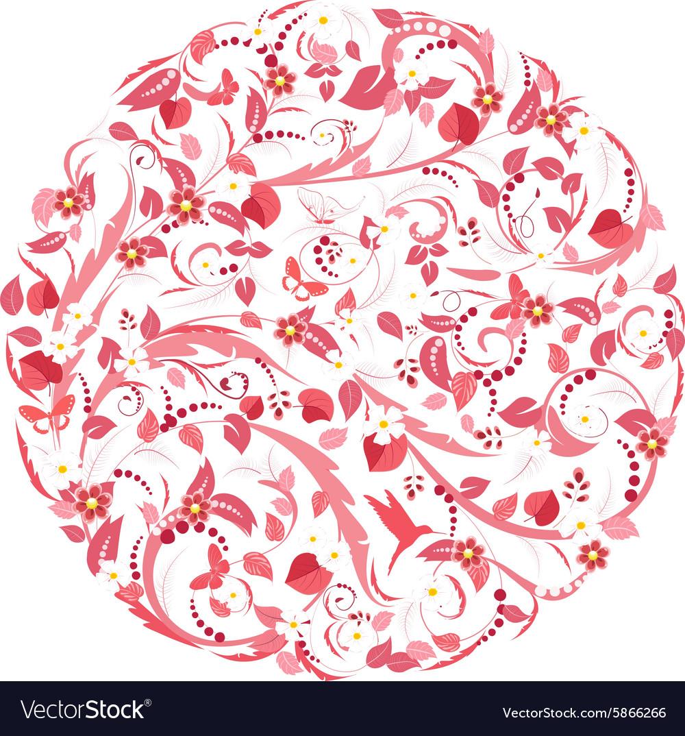 Pink circular pattern of floral vector image