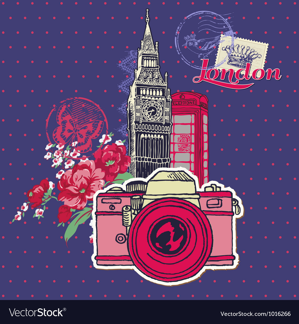 Scrapbook Design Elements - London Vintage Card vector image