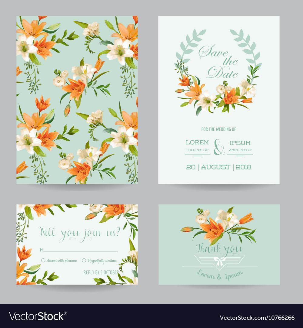 Wedding Invitation Set - Autumn Lily Floral Theme Vector Image