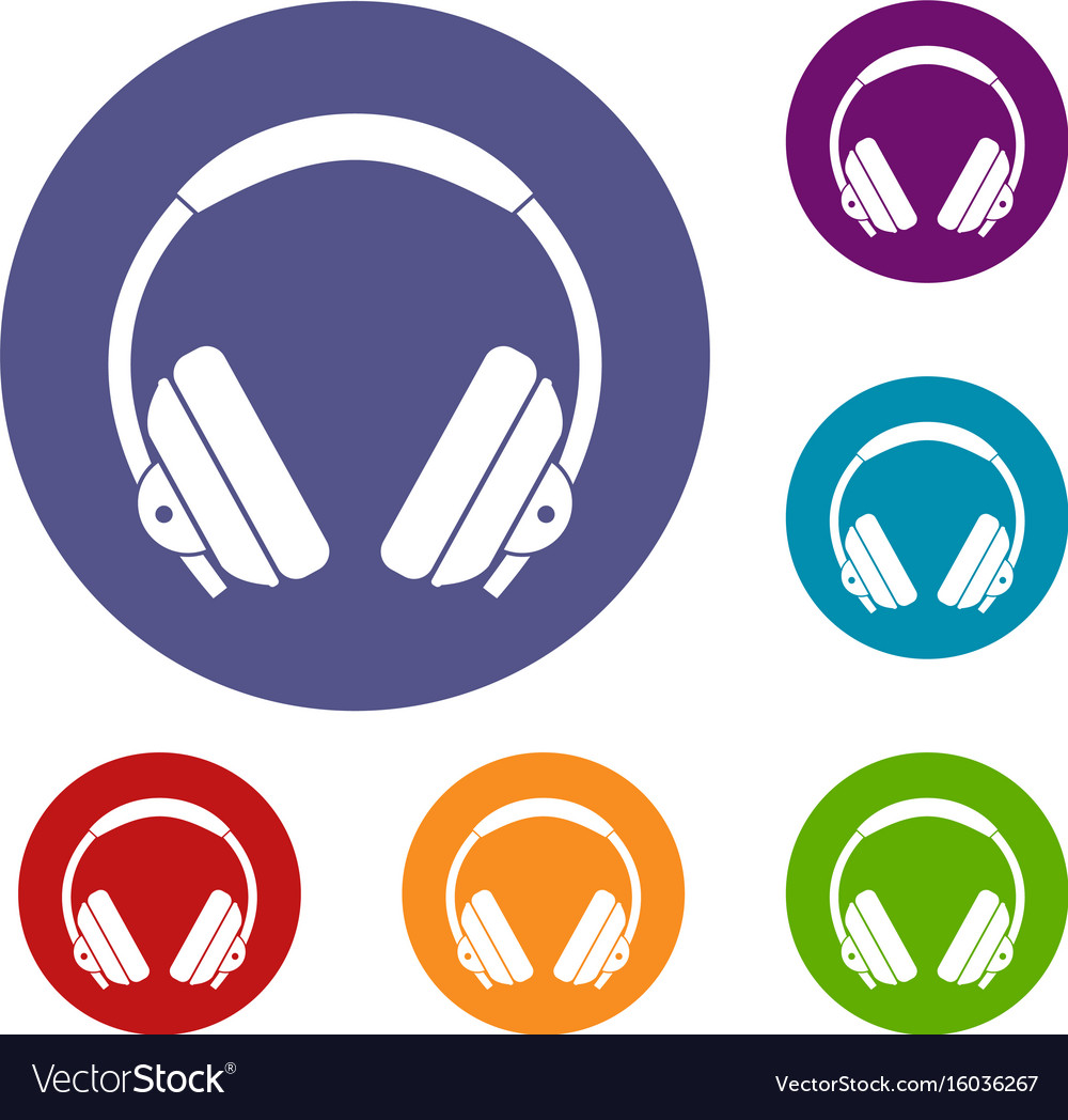 Headphone icons set vector image