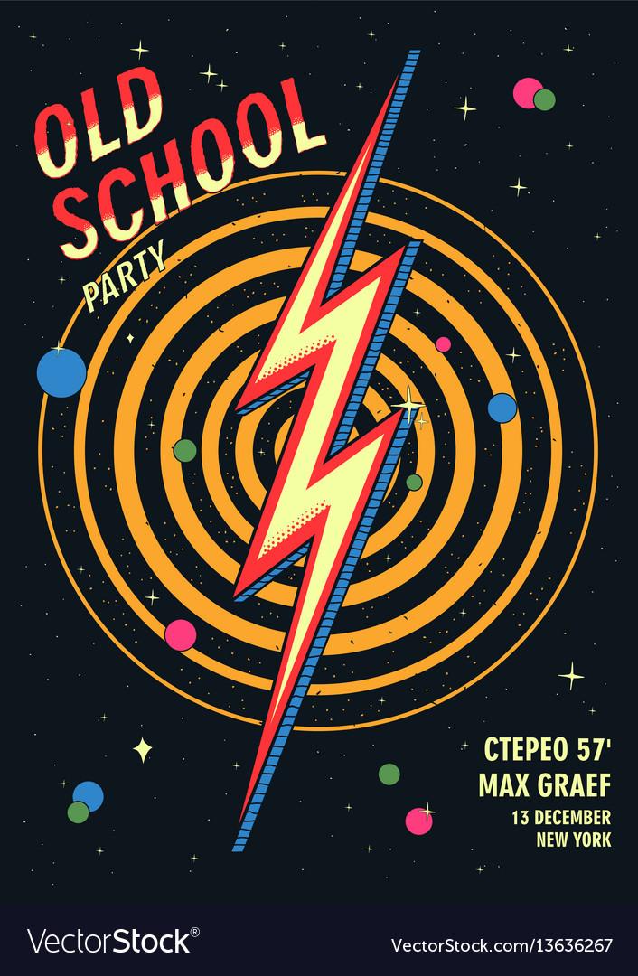 Old school dance party poster in retro design vector image