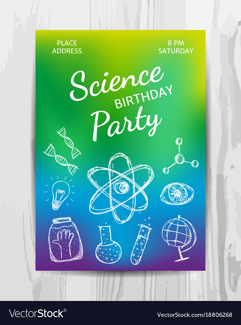 Birthday party invitation card science party Vector Image