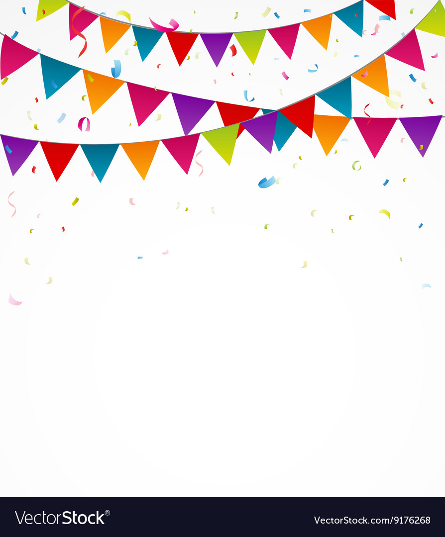 Happy Birthday Card With Bunting Flags Royalty Free Vector