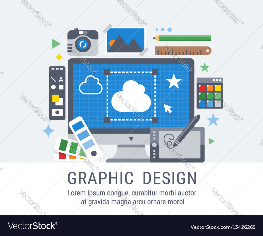 Graphic design flat for web vector image