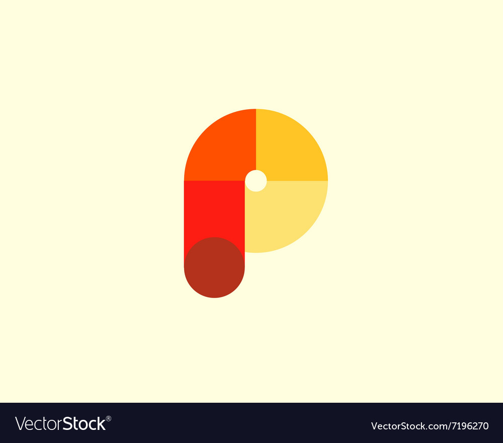 Abstract letter P logo design template Colorful vector image