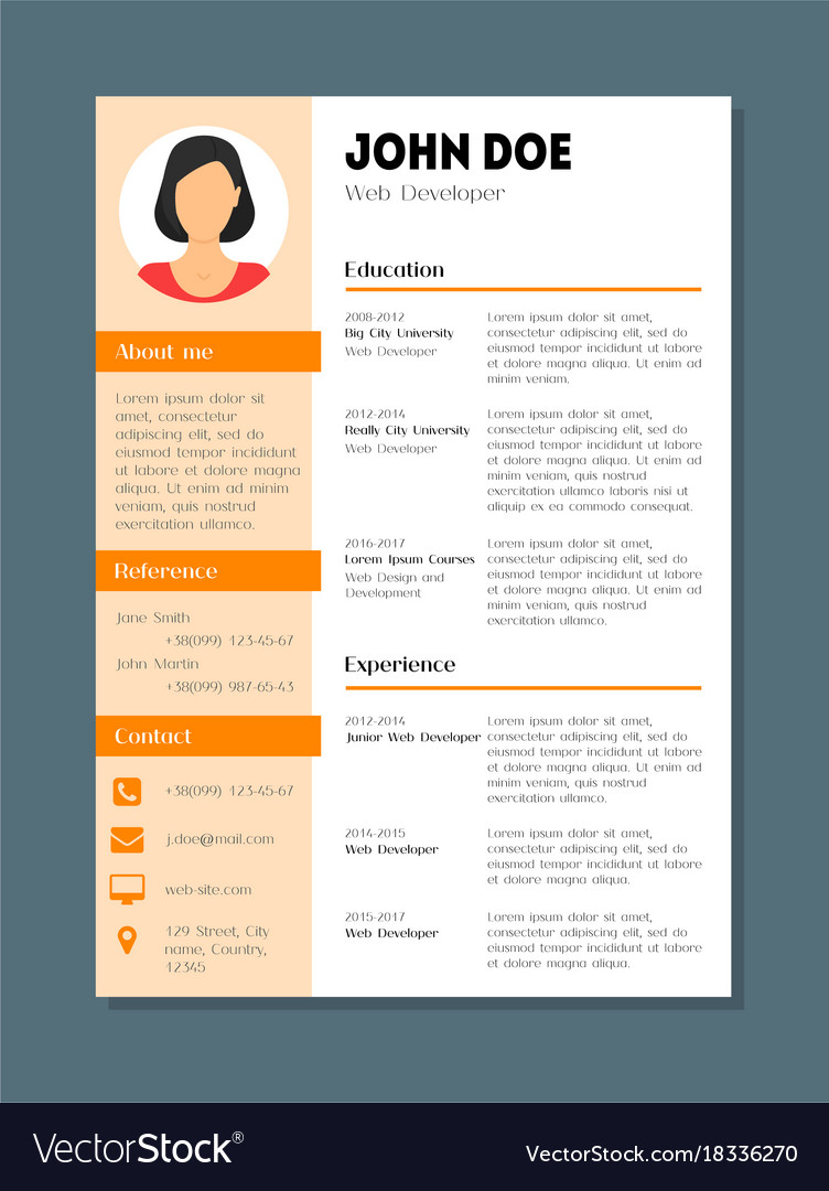 Company Application Cv Resume Template Card Poster Vector Image  Company Resume Template