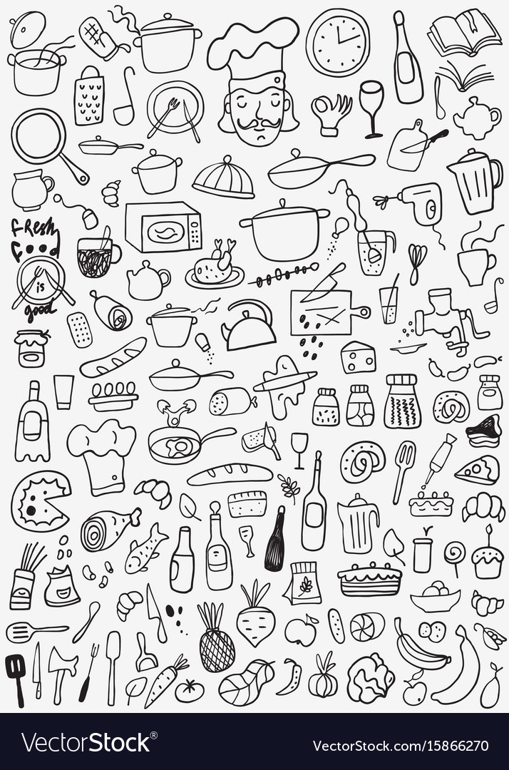 Food kitchen tools - doodles set vector image