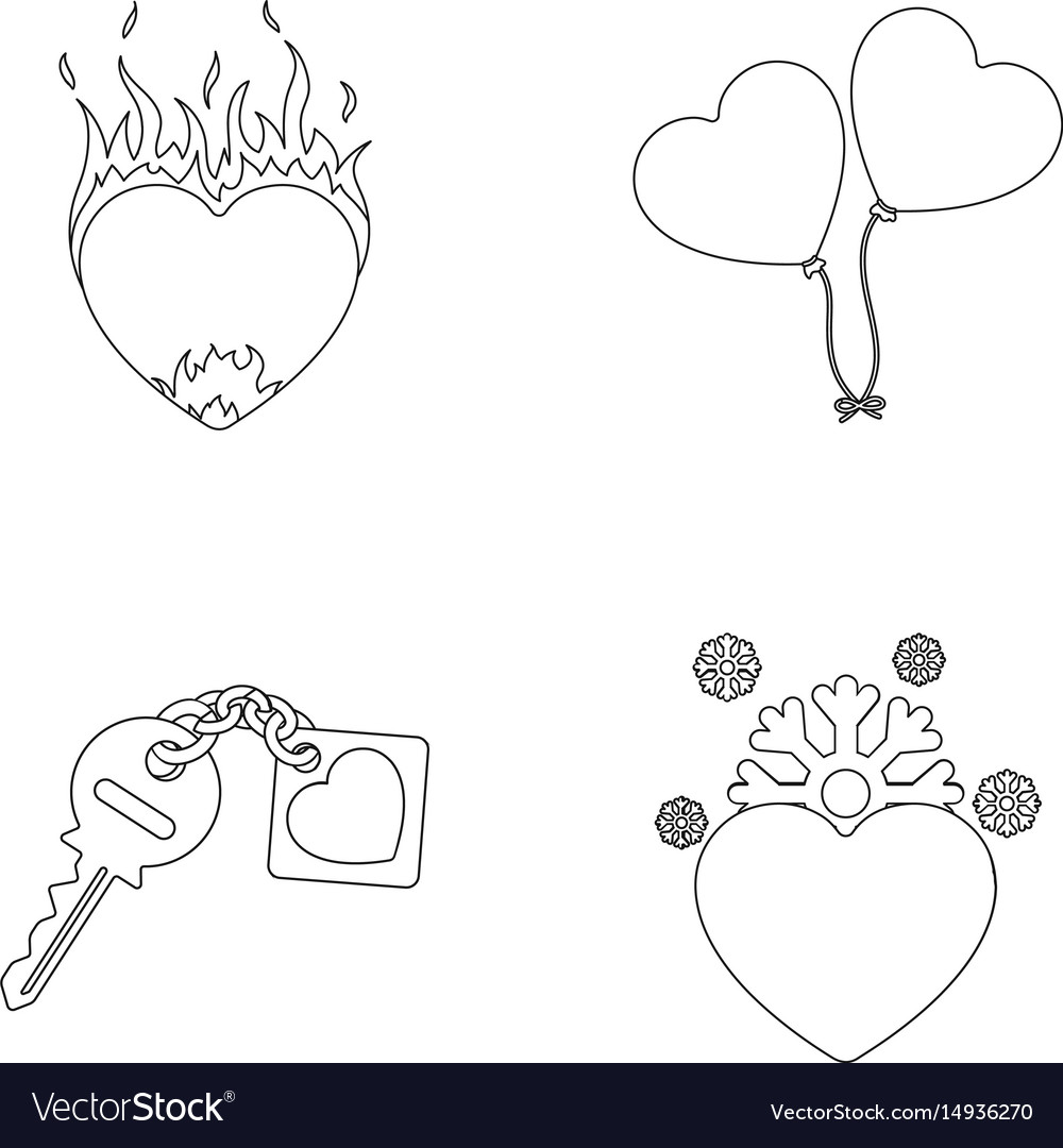 Hot heart balloons a key with a charm a cold vector image