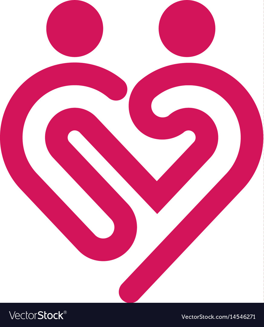 Heart icon logo relations symbol vector image