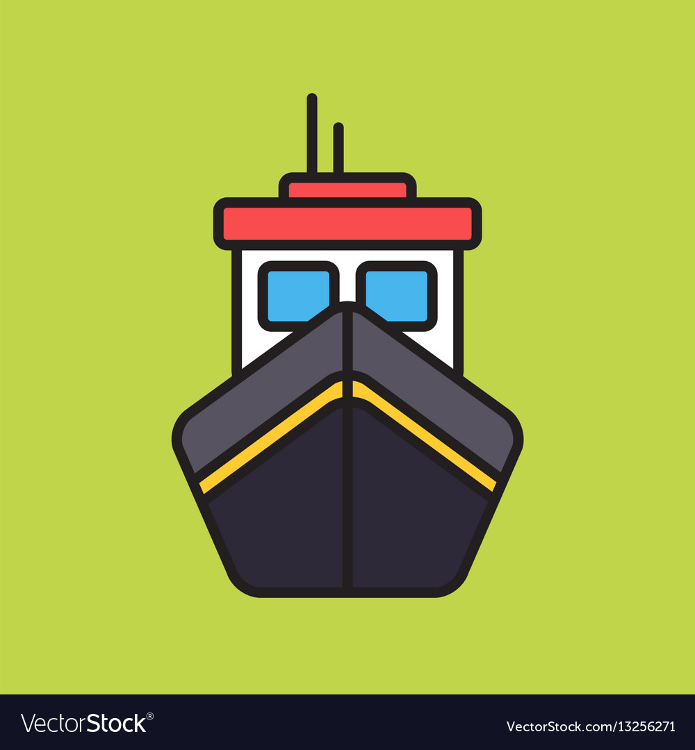 Simple boat colorful icon on green background vector image